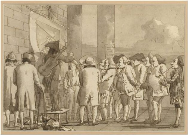 Giovanni Domenico Tiepolo (1726-1804), Scene of Contemporary Life: The Picture Show, 1791, Pen and ink over black chalk, Thaw Collection, The Morgan Library & Museum, 2017.253
