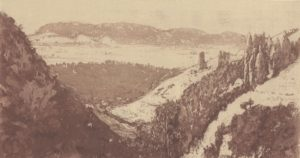 Gérard de Palézieux, Raspille Valley, 1992 Copper plate soft-ground etching and aquatint, on Chine collé on Arches wove paper, 160 × 300 mm Fondation William Cuendet & Atelier de Saint-Prex, Vevey