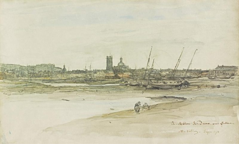 Antoine Vollon (1833–1900), View of Dieppe Harbor, 1873. Watercolor and graphite on laid paper.