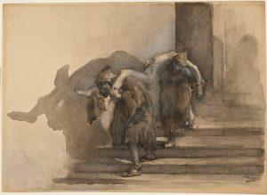 """Gaetano Previati: The """"Monatti"""" (Illustration to Alessandro Manzoni's """"I Promessi Sposi""""), ca. 1895–99. Watercolor, heightened with white gouache. Museum purchase, Felton Gibbons Fund (2007-16)."""