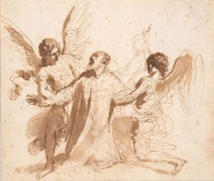 Giovanni Francesco Barbieri, called Il Guercino (1591–1666), Vision of St. Philip Neri, 1646–47, pen and brown ink, with brown wash. The Morgan Library & Museum, gift of János Scholz, 1977.49