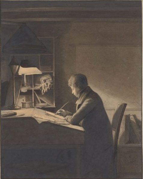 Johannes Jelgerhuis, A Young Man Seated at a Writing Desk by Lamplight