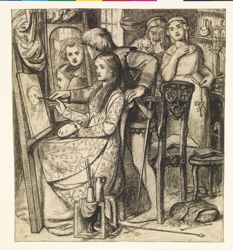 Dante Gabriel Rossetti, Love's Mirror or a Parable of Love, pen and black ink over graphite with gray wash on paper,Yale Center for British Art