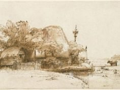 "Rembrandt Harmensz van Rijn, ""A Farm on the Amsteldijk(?),"" Brown ink, brown wash and white opaque watercolor on cream antique laid paper, Fogg Art Museum, Harvard University"