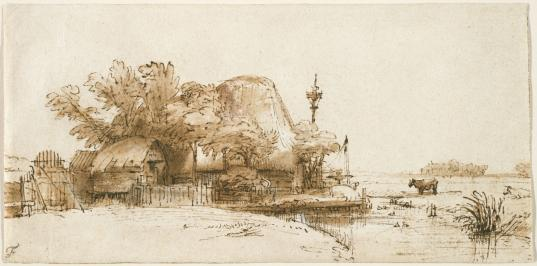 """Rembrandt Harmensz van Rijn, """"A Farm on the Amsteldijk(?),"""" Brown ink, brown wash and white opaque watercolor on cream antique laid paper, Fogg Art Museum, Harvard University"""