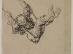 "Francisco de Goya y Lucientes, ""Viejo en un columpio (Old Man on a Swing),"" black chalk and lithographic crayon, on laid paper, the Hispanic Society of America"