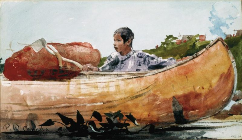 Winslow Homer, Indian Boy with Canoe, watercolor on paper, Denver Art Museum