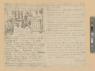 """Image: Vincent van Gogh, Autograph letter: to Paul Gauguin, with a sketch of """"Bedroom at Arles"""", 1888 Oct. 17, The Morgan Library & Museum."""
