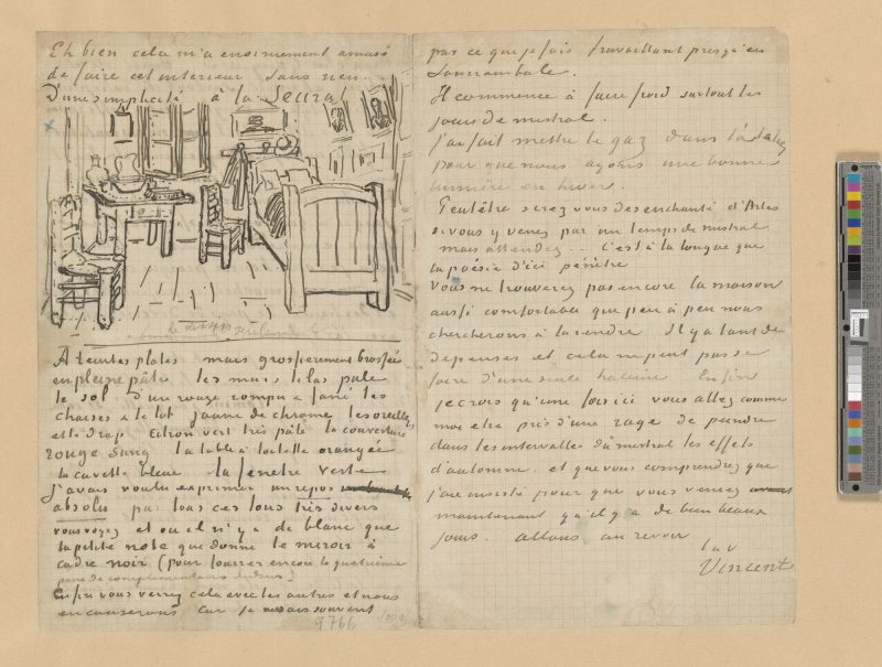 "Image: Vincent van Gogh, Autograph letter: to Paul Gauguin, with a sketch of ""Bedroom at Arles"", 1888 Oct. 17, The Morgan Library & Museum."