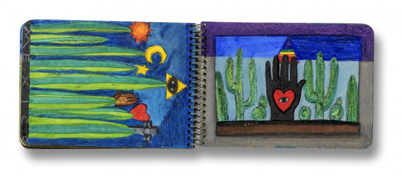 "Image: Betye Saar, ""Spread from Mexico sketchbook, June 1975,"" gouache, watercolor, and pencil, courtesy of the artist and Roberts Projects, Los Angeles, California. © Betye Saar"