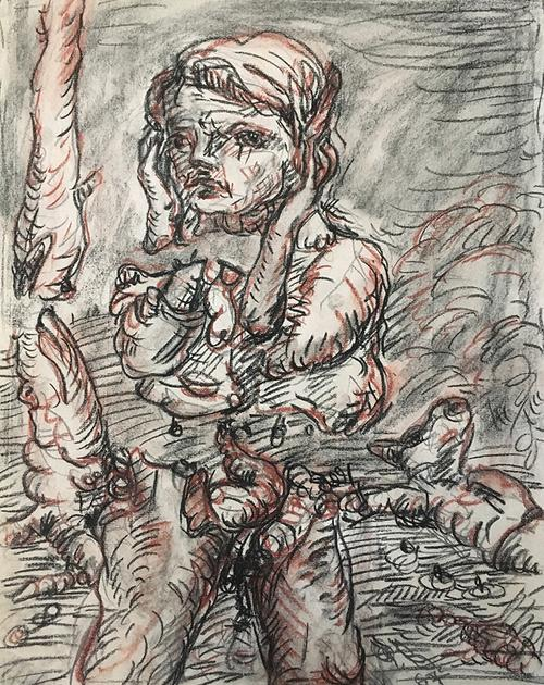 Georg Baselitz, Untitled, 1967. Black and red chalk and graphite on paper. Harvard Art Museums/Busch-Reisinger Museum, Gift of Dorette Hildebrand-Staab, 2020.100. Artwork © Georg Baselitz. Photo: Lynette Roth; © President and Fellows of Harvard College