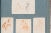 "Dirck van der Lisse, ""Album page with studies and counterproofs, Kupferstich-Kabinett, Dresden"