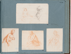 "Dirck van der Lisse, ""Album page with studies and counterproofs, Kupferstich-Kabinett, Dresden"