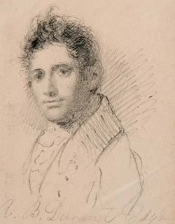 Asher B. Durand, Self-Portrait, ca. 1819. Graphite on paper with binding holes at left; 3 7/16 x 2 13/16 in (87 x 71 mm), irregular. New-York Historical Society, Gift of Miss Nora Durand Woodman, 1942.550